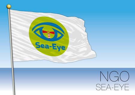 MEDITERRANEAN SEA, EUROPE, YEAR 2017 - Flag of the Sea Eye, International Non-Governmental Organization Involved in Immigrants Rescue Editorial