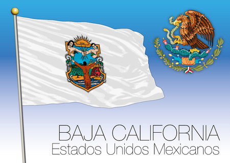 Baja California regional flag, United Mexican States, Mexico Vectores