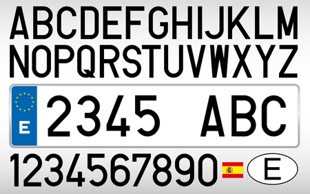 Spanish car plate, letters, numbers and symbols, Spain 免版税图像 - 84135871