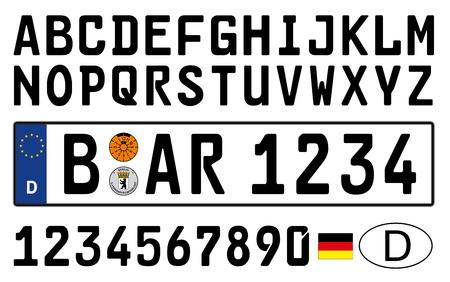 독일 자동차 접시, 문자, 숫자 및 기호