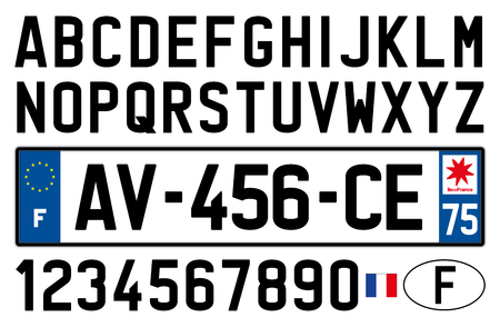 France car plate, letters, numbers and symbols.