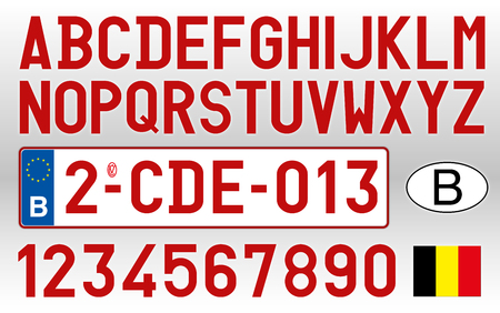Belgium car plate, letters, numbers and symbols