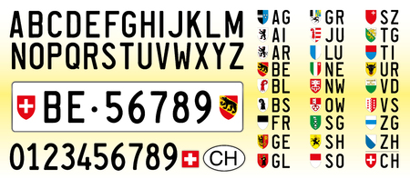 Switzerland car plates, letters, numbers and symbols  イラスト・ベクター素材