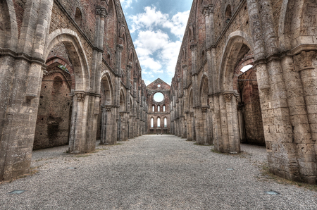 San Galgano Abbey, Tuscany, Italy, touristic place Archivio Fotografico