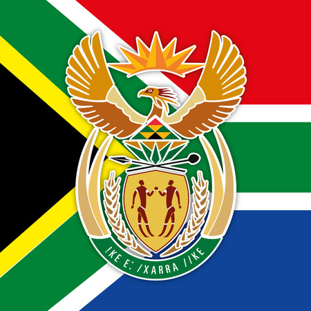 South Africa flag and coat of arms
