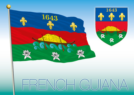 French Guiana flag and coat or arms