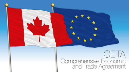 CETA, Comprehensive Economic and Trade Agreement, Canada and European Union flags