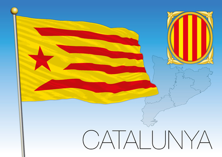 Catalonia flag, coat of arms and map, Spain