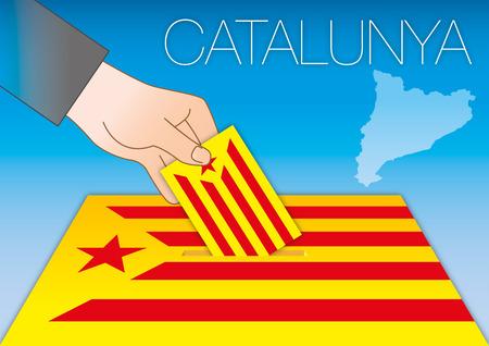 Catalonia flag with vote ballot box, Spain 2017