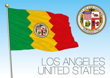 Los Angeles city flag and seal, USA