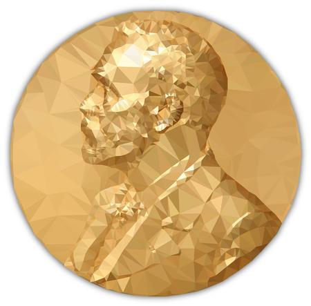 Premio Nobel per la Medaglia d'Oro, elaborazione grafica ai poligoni Archivio Fotografico - 87281340