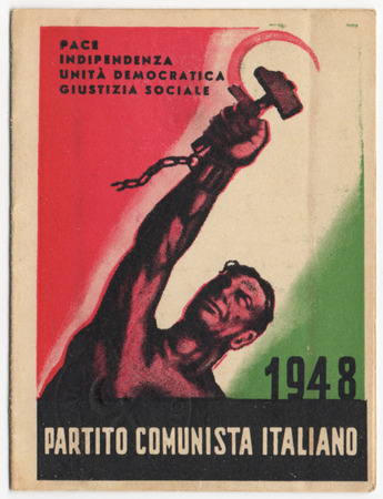 Italian Communist Party card, PCI, vintage 1948, historical document