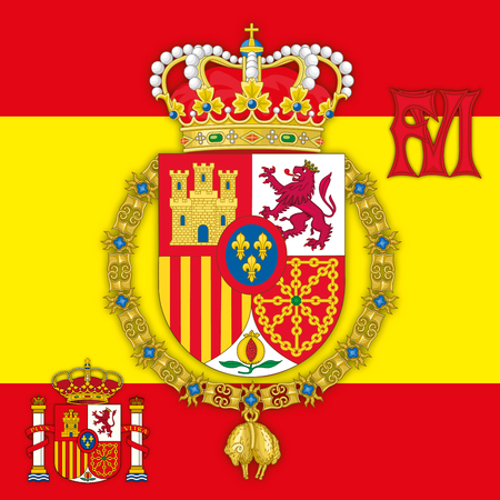 madrid: Spain, Coat of Arms of King of Spain with flag & monogram Illustration