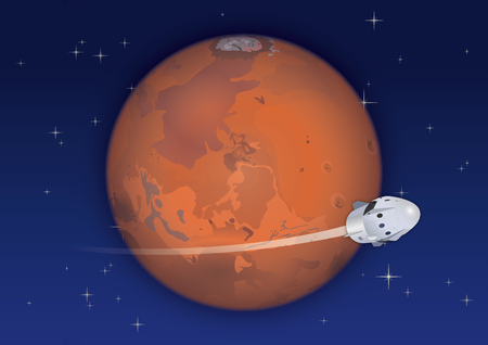 Planet Mars in Space and Future Space Capsule
