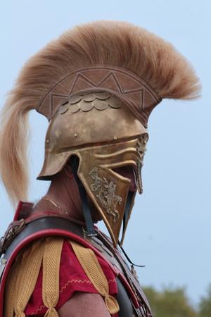 Old Greek soldier with helmet
