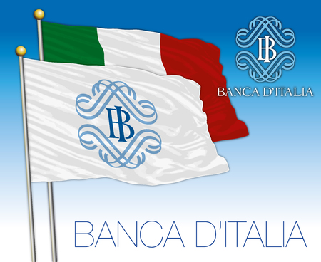 ROME, ITALY - 2017 Flag of the Italian National Bank