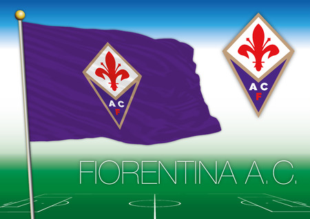 FLORENCE, ITALY, YEAR 2017 - Serie A football championship, 2017 flag of the Fiorentina team Editorial