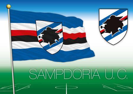 GENOA, ITALY, YEAR 2017 - Serie A football championship, 2017 flag of the Sampdoria team Editorial
