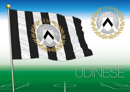 cup four: UDINE, ITALY, YEAR 2017 - Serie A football championship, 2017 flag of the Udinese team Editorial