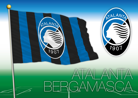 BERGAMO, ITALY, YEAR 2017 - Serie A football championship, 2017 flag of the Atalanta team Editorial