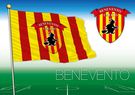 BENEVENTO, ITALY, YEAR 2017 - Serie A football championship, 2017 flag of the Beneventoteam