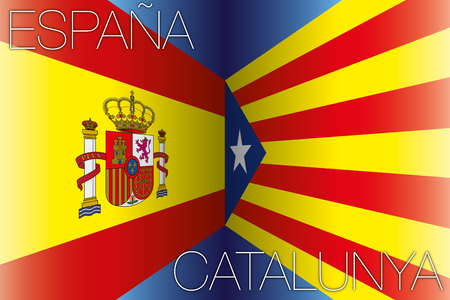 Spain and Catalonia flags Ilustrace
