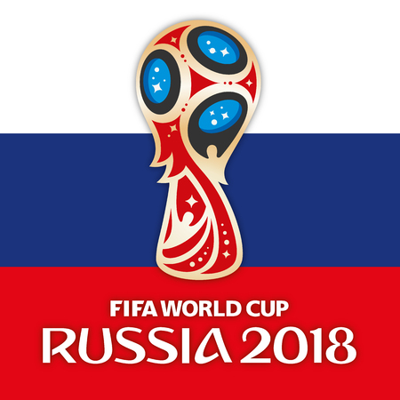 MOSCOW, RUSSIA, June 2018 - Russia 2018 World Cup logo and the flag of Russia
