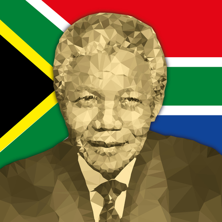 SOUTH AFRICA, YEAR 2018 - 100th anniversary birth of Nelson Mandela, portrait polygonal style and flag
