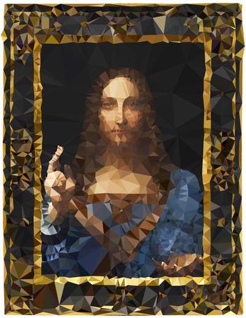 Salvator beat, Leonardo Da Vinci painting, polygonal graphic elaboration