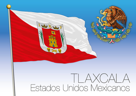 Tlaxcala regional flag, United Mexican States, Mexico Ilustrace