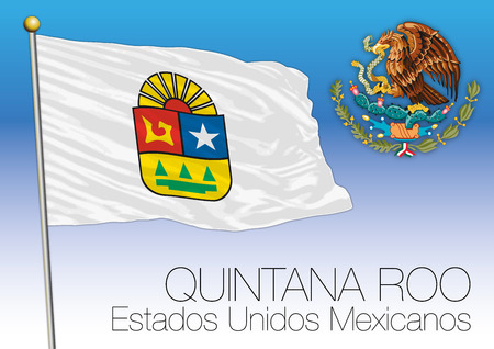 Quintana Roo regional flag, United Mexican States, Mexico Illustration