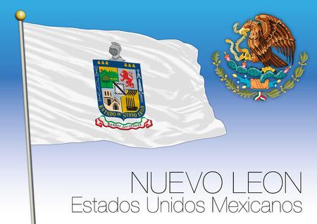Nuevo Leon regional flag, United Mexican States, Mexico.