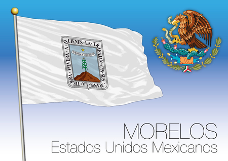Morelos regional flag, United Mexican States, Mexico. Illustration