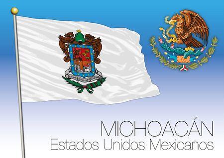 Michoacan regional flag, United Mexican States, Mexico. Illusztráció