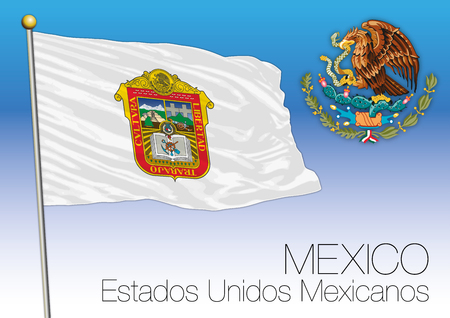 Mexico state, regional flag, United Mexican States, Mexico.