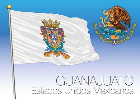 Guanajuato regional flag, United Mexican States, Mexico Ilustrace