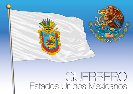 メキシコ合衆国、メキシコ ゲレーロ州地方旗 写真素材 - 91194737