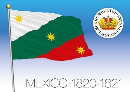 歴史的な旗 1820-1821 年メキシコ合衆国メキシコ
