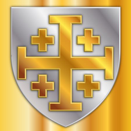 cross of jerusalem, coat of arms, graphic design, illustration