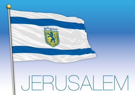 City of Jerusalem flag, Israel Vector illustration.