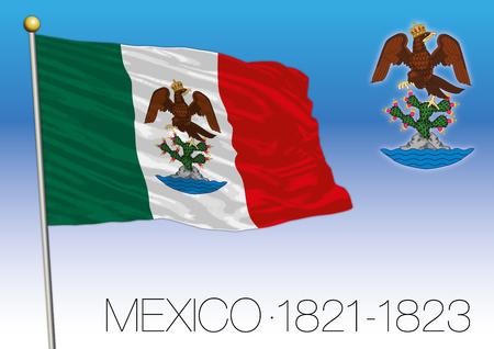 メキシコ, 歴史的な旗 1821-1823, アメリカメキシコ合衆国
