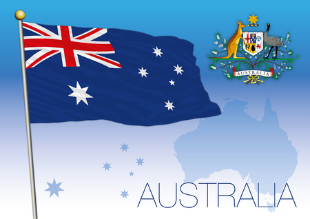 Australia, flag of the state and coat of arms Illustration