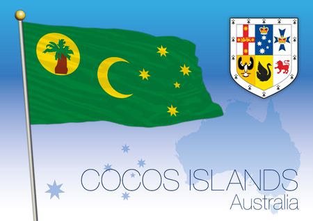 Cocos Islands, flag of the territory, Australia Vector illustration.