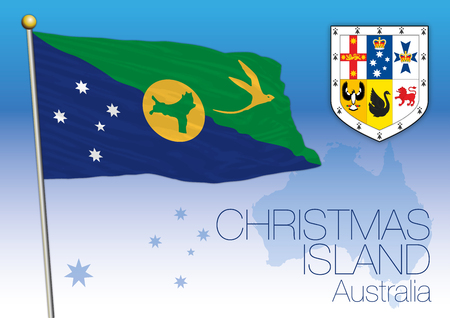 Christmas Islands, flag of the territory, Australia Vector illustration.