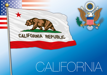 California federal state flag, United States Vector illustration. Çizim