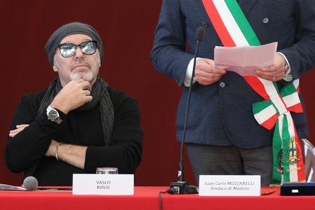 MODENA, ITALY - JANUARY 17 2018 - Conferring honorary citizenship of Modena to the musician Vasco Rossi