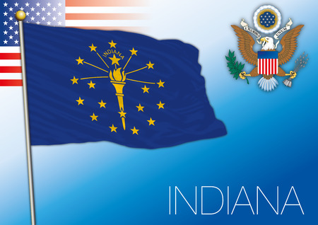 Indiana federal state flag, United States. Vector illustration.