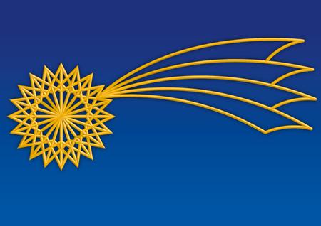 Golden christmas comet star, vector illustration