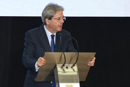 MODENA, ITALY, JANUARY 19 - 2018 - Paolo Gentiloni, Italian chairman, Public presentation conference of the municipality of Modena, Italy