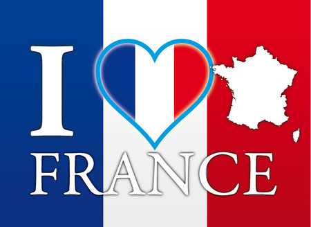 I Love France, flag, heart symbol and map, touristic place